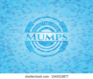 Mumps sky blue emblem. Mosaic background