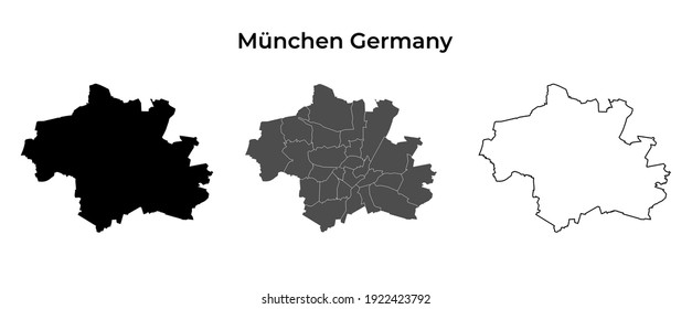 Munchen Germany Blank Map Black Silhouette and Outline Vector Isolated on White