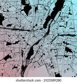 Munich - München, Bayern, Germany (DEU) - Urban vector city map with parks, rail and roads, highways, minimalist town plan design poster, city center, downtown, transit network, gradient blueprint