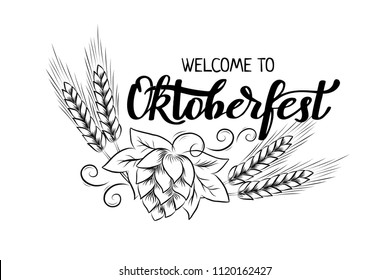 Munich Beer Festival Oktoberfest handwritten text with line art illustration of wheat heads and hop cones. Poster, banner, logo, website, printing for beer party. Oktoberfest holiday typography emblem