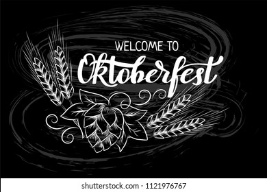 Munich Beer Festival Oktoberfest handwritten text with line art illustration of wheat heads and hop cones. Chalk lettering on blackboard. Poster, banner, logo, website, printing for beer party
