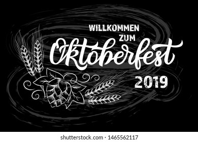 Munich Beer Festival Oktoberfest handwritten text with line art illustration of wheat heads and hop cones. Poster, banner, logo, website, printing for beer party. Vector Oktoberfest holiday typography