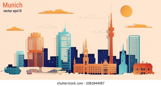 Munich city colorful paper cut style, vector stock illustration. Cityscape with all famous buildings. Skyline Munich city composition for design