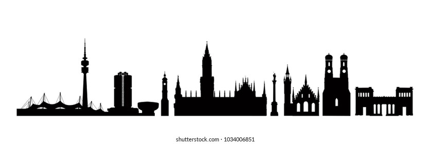 Munich city, Germany. Landmark buildings silhouette set. Travel Bavaria background. German city famous place icons