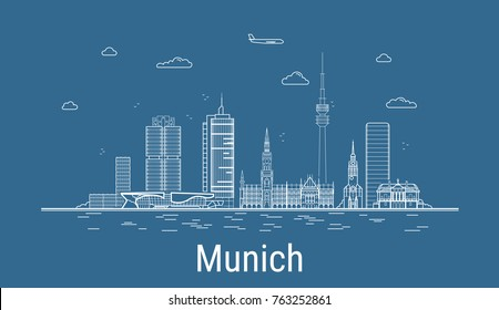 Munich city, Line Art Vector illustration with all famous buildings. Linear Banner with Showplace. Composition of Modern cityscape. Munich buildings set