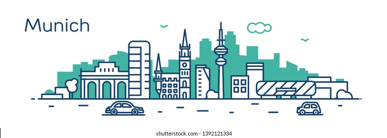 Munich city. Modern flat line style. Vector illustration. Concept for presentation, banner, cards, web page