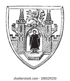 Munich coat of arms (city in Germany) / vintage illustration from Meyers Konversations-Lexikon 1897