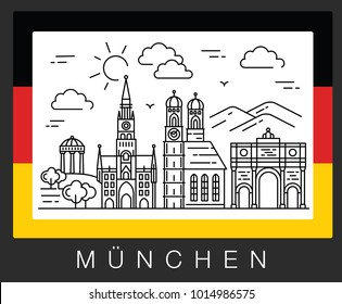 Munich, Germany. Illustration of city sights