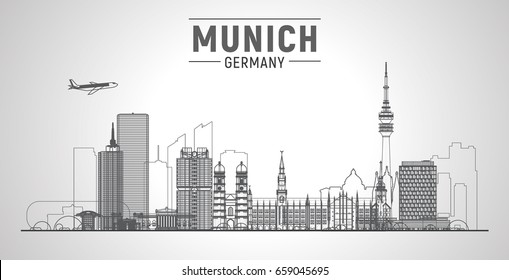 Munich ( Germany ) line city skyline with panorama in sky background. Vector Illustration. Business travel and tourism concept with modern buildings. Image for presentation, banner, web site.