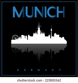 Munich, Germany, skyline silhouette vector design on parliament blue and black background.
