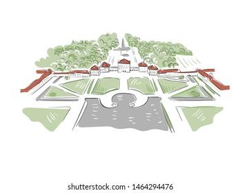 Munich Nymphenburg Palace Germany Europe vector sketch city illustration line art