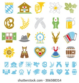 Munich Oktoberfest German culture flat color icon set
