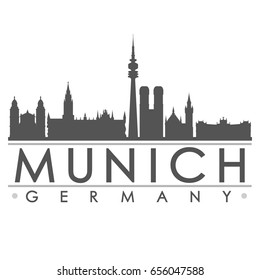 Munich Silhouette Skyline Stamp Vector City Design