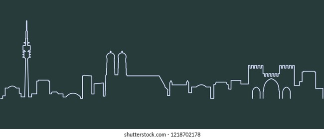 Munich Single Line Skyline