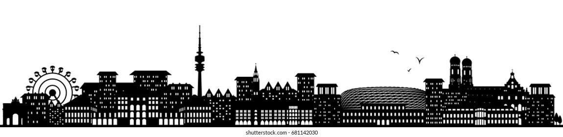 munich skyline black