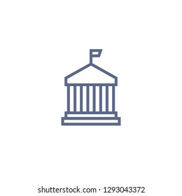 municipal building line icon