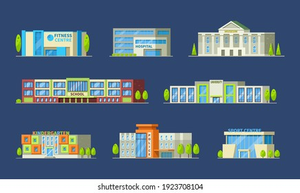 Municipal buildings set. Buildings police station, hospital, school, supermarket, kindergarten, university, sports complex, bank, restaurant, church, museum, fitness, post office cartoon vector