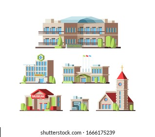 Municipal buildings. Urban houses hotel school hospital Institute post office and Church. Vector flat pictures