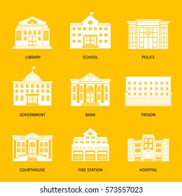 Municipal buildings white icons. Government building set, city hall and hospital, governments house and school signs. Vector illustration