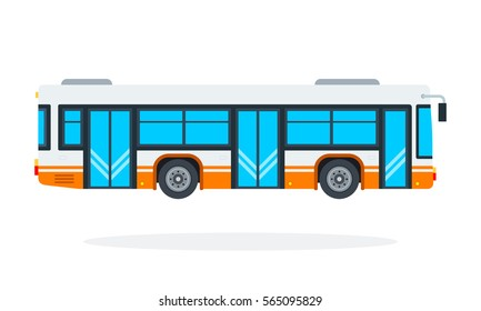 Municipal bus vector flat isolated object.