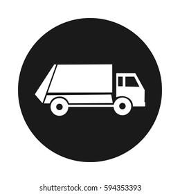 municipal garbage service icon. Truck