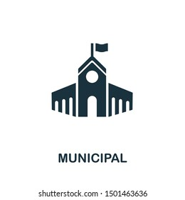 Municipal icon vector illustration. Creative sign from buildings icons collection. Filled flat Municipal icon for computer and mobile. Symbol, logo vector graphics.