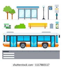 Municipal transport vector flat icons set with public transport stop, bench, lamp post, urn, tickets, navigation, bus stop sign, crosswalk and bus schedule. Isolated on white background.