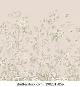 Mural. Bloom. Chinoiserie inspired. Vintage floral illustration. Tender