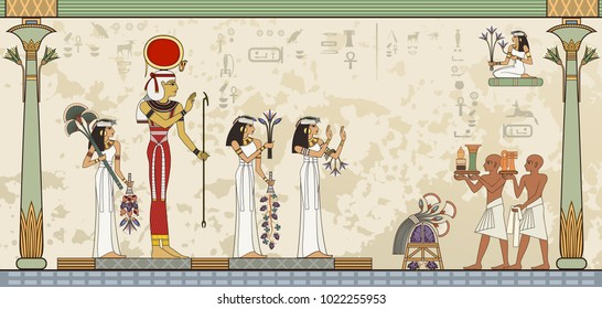 Murals with ancient egypt scene Ancient egypt banner.Egyptian hieroglyph and symbol.Deities.