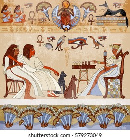 Murals ancient Egypt scene. Gods and pharaohs. Hieroglyphic carvings on the exterior walls of an ancient egyptian temple