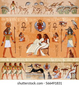 Murals ancient Egypt scene mythology. Egyptian gods and pharaohs. Hieroglyphic carvings on the exterior walls of an ancient temple