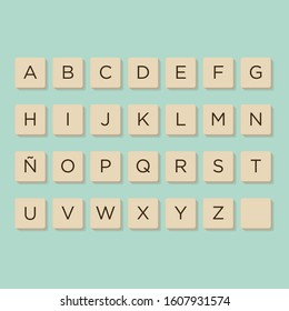 Murcia, Spain. December, 11-2019: Alphabet in scrabble letters. Isolate vector illustration to compose your own words and phrases.