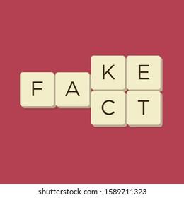 Murcia, Spain. December 12-2019: Fake news, fact news with letter game tiles. Isolate vector illustration.