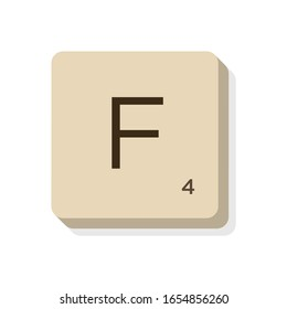 MURCIA, SPAIN. February, 24-2020: Letter F in scrabble alphabet. Isolate vector illustration to compose your own words and phrases.