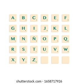 Murcia, Spain - February 28, 2020: Complete Alphabet uppercase in scrabble letters. Isolate vector illustration ready to compose words and phrases