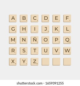 Murcia, Spain - February 29, 2020: Complete Alphabet uppercase in scrabble letters. Isolate vector illustration ready to compose words and phrases