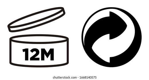 Murcia, Spain. March 9-2020: 12M Period after opening, PAO symbol and Green Point symbol for cosmetics packaging.