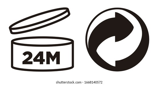 Murcia, Spain. March 9-2020:  24M Period after opening, PAO symbol and Green Point symbol for cosmetics packaging.