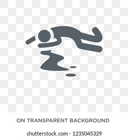 murder icon. Trendy flat vector murder icon on transparent background from law and justice collection.