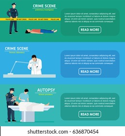 Murder investigation banners. Police officer guards the crime scene. Forensic laboratory. The assistant forensic scientist examines evidence. The autopsy of the murder victim.Vector flat illustration.