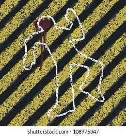 Murder Silhouette on yellow hazard lines. Accident prevention or crime scene concept illustration. Vector, EPS8