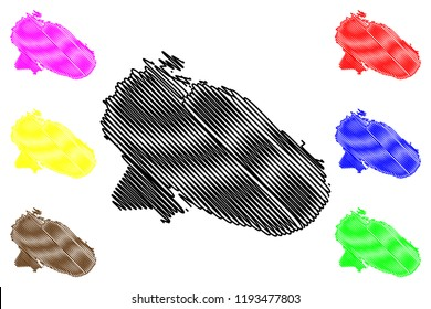 Murmansk Oblast (Russia, Subjects of the Russian Federation, Oblasts of Russia) map vector illustration, scribble sketch Murmansk Oblast map