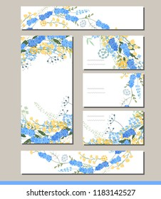 Muscari set with visitcards and greeting templates