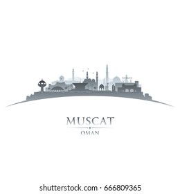 Muscat Oman city skyline silhouette. Vector illustration