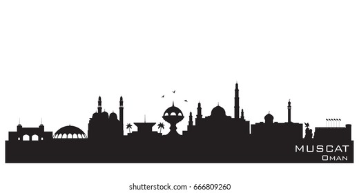 Muscat Oman skyline Detailed vector silhouette