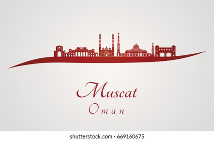 Muscat skyline in red and gray background in editable vector file