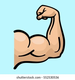 Muscle arms, strong bicep vector icon. Power bicep man, human strength bicep for fitness gym emblem illustration.
