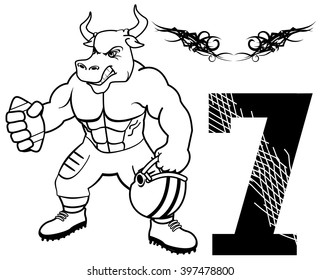 muscle bull with american football uniform in vector format
