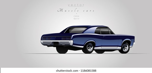 Muscle car from 67s in vector.