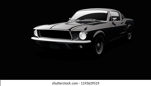 Muscle car in black environment.